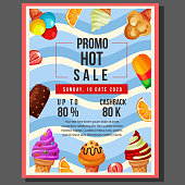 promo hot sale poster sale with ice cream border. vector illustration template.