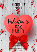 Beautiful Background with Realistic Air Balloon in the Shape of Heart on Wooden Texture. Vector Illustration with Confetti. Invitation to Nightclub.