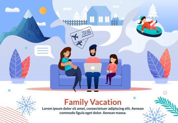illustrazioni stock, clip art, cartoni animati e icone di tendenza di poster promozionale per l'agenzia di viaggi offerta winter tours - negozio sci