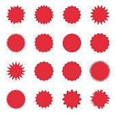 sunburst sale badges, promo sale starburst label, special offer tag