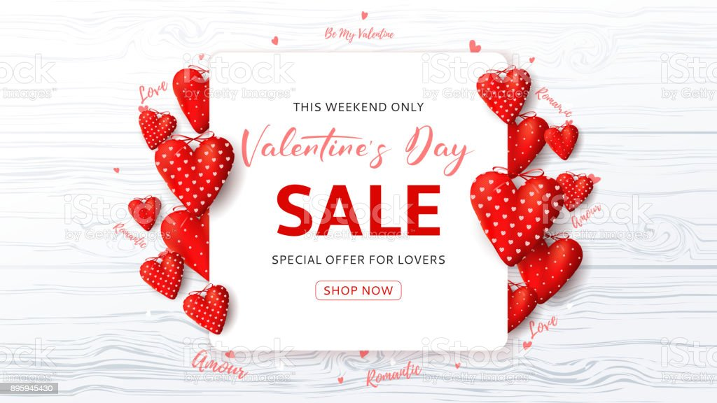 Promo Web Banner for Valentine's Day Sale vector art illustration