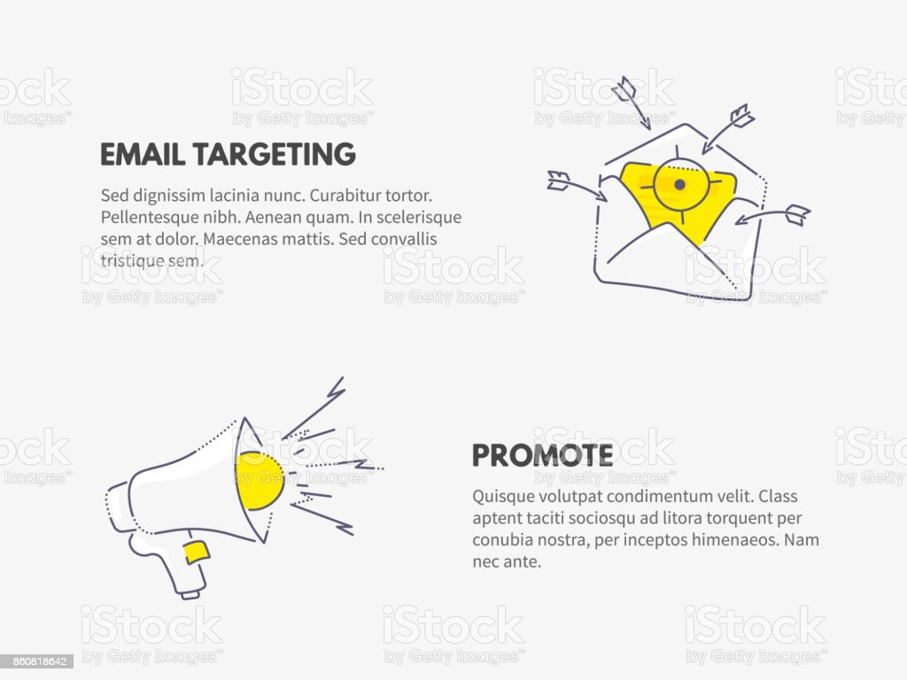 Promote and email targeting. Marketing business concept.