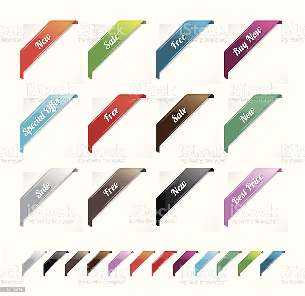 Promoting corner ribbons vector art illustration
