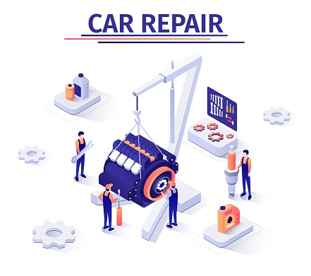 Promotion Banner with Engine Repairing Process
