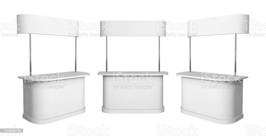 Promotion counter mockup. Isolated vector retail trade stand. vector art illustration