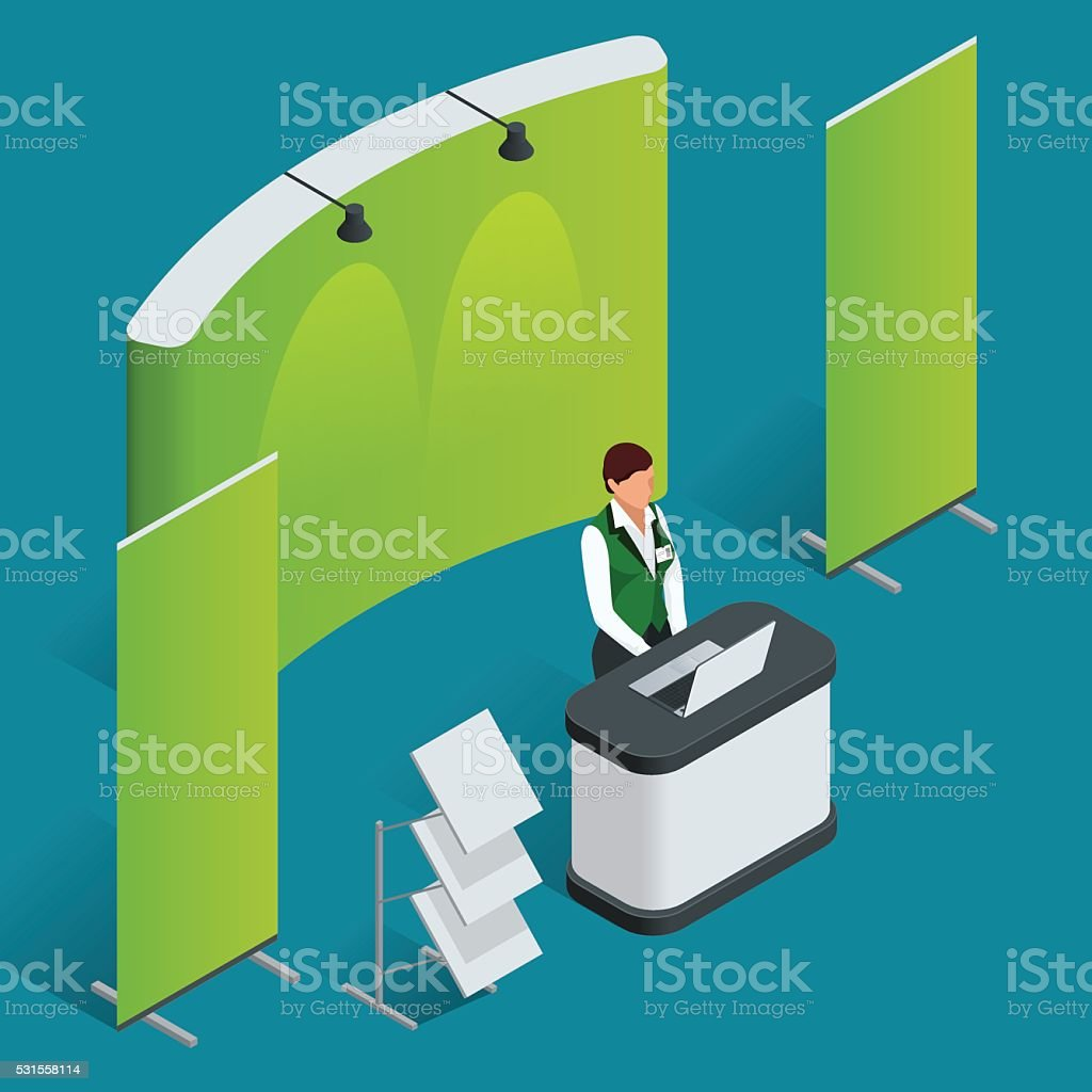 Promotion counter set. Trade stand. vector art illustration