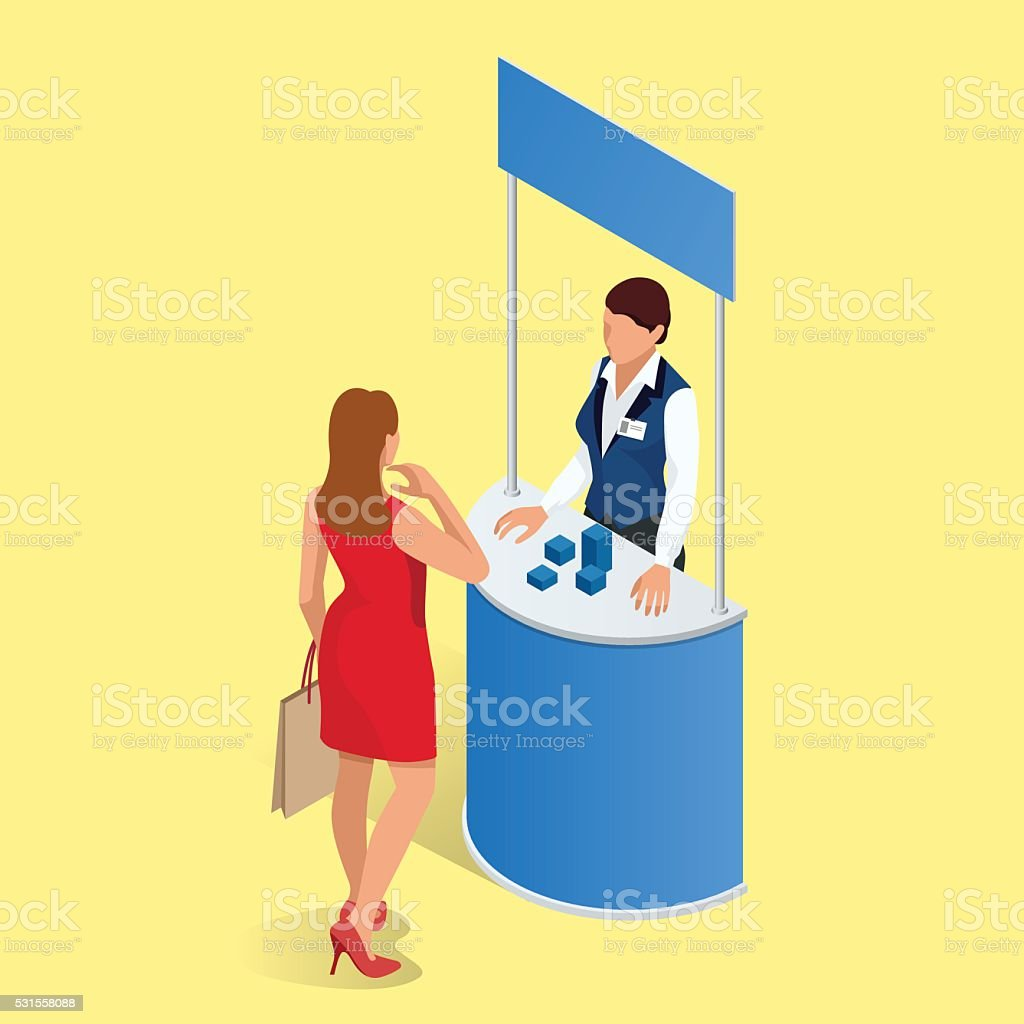 Promotion counter. Trade stand. vector art illustration
