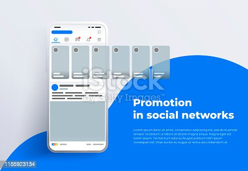 Stories in social networks. Design template from landing page or banner. Modern white smartphone 2019