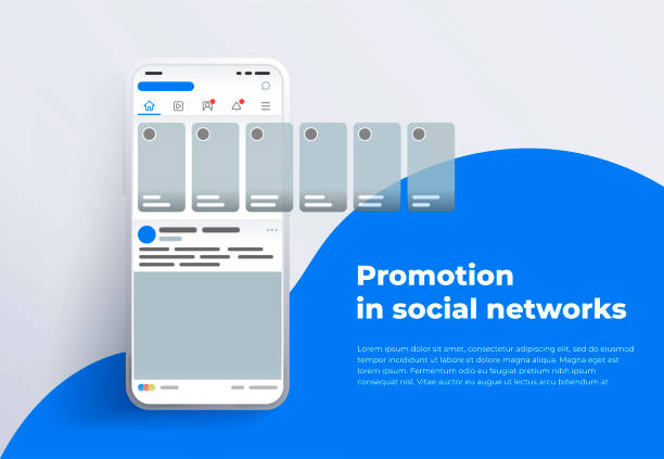 Promotion in social media. Smartphone with interface carousel post on social network. vector art illustration
