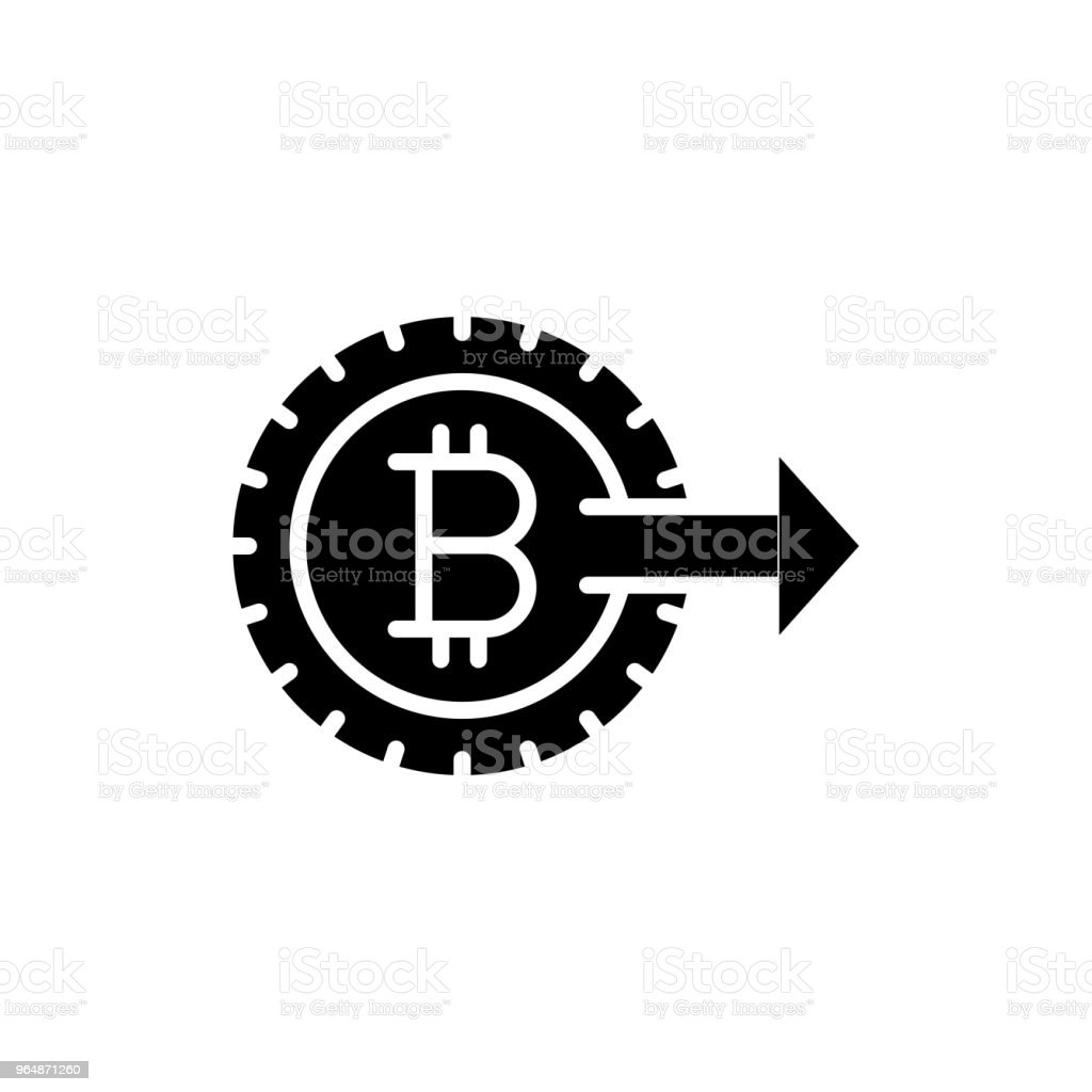 Promotion Of Bitcoin Black Icon Concept Promotion Of Bitcoin Flat