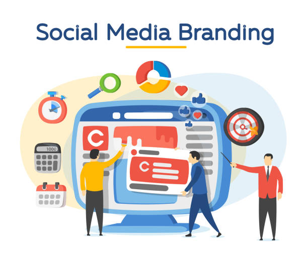 Promotion of the brand in social network. Analytics for social media marketing, management and optimization. vector art illustration