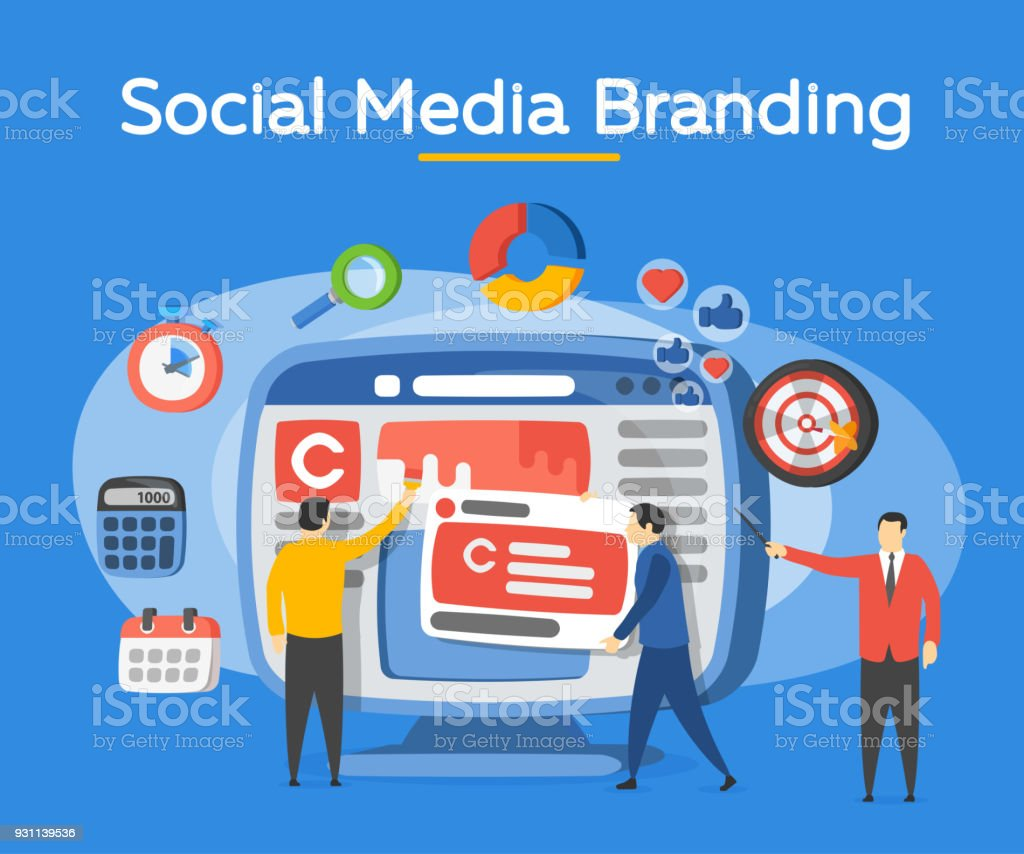 Promotion of the brand in social network. People in the social media industry. Analytics for social media marketing, management and optimization. Advertising and promotion process. Vector illustration Backgrounds stock vector