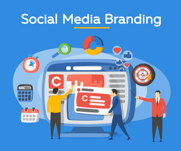 Promotion of the brand in social network. People in the social media industry. vector art illustration
