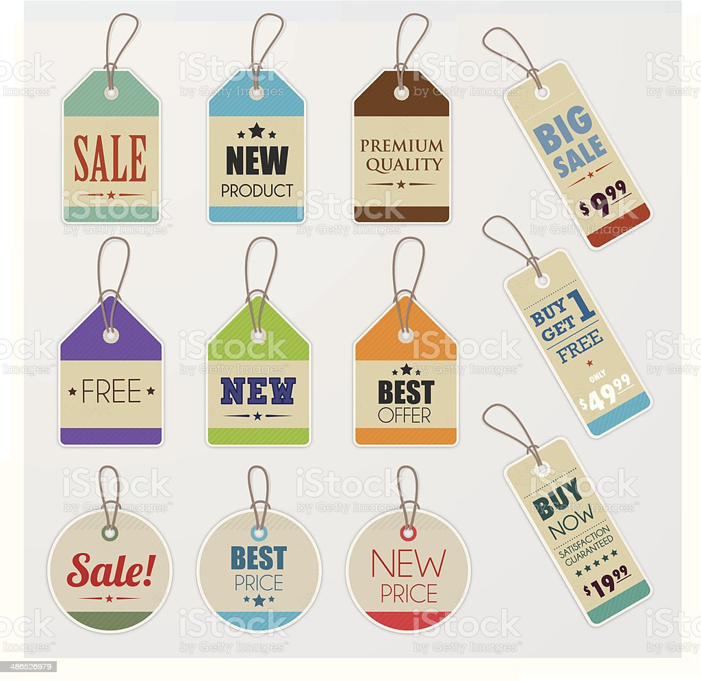 Promotion paper price tags vector art illustration