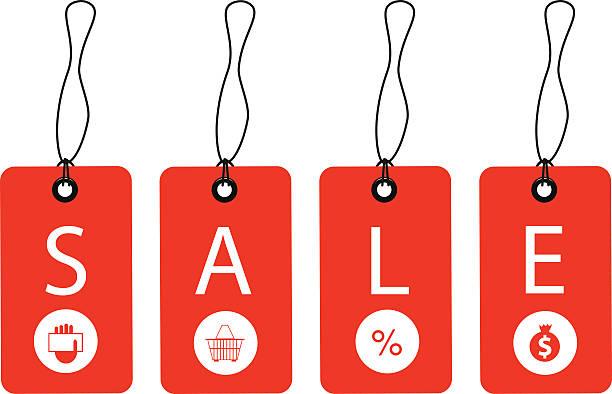 ilustrações, clipart, desenhos animados e ícones de promoção etiqueta de venda - tag