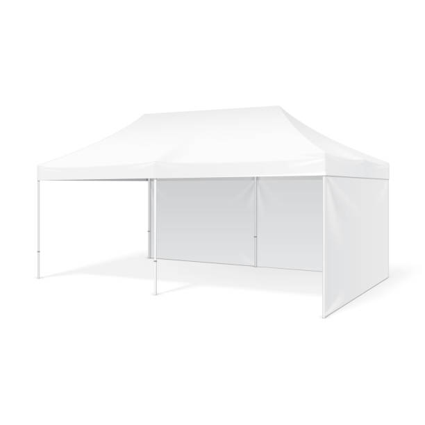 Promotional Advertising Outdoor Event Trade Show Pop-Up Tent Mobile Marquee. Mock Up, Template. Illustration Isolated On White Background. Product Advertising Vector Promotional Advertising Outdoor Event Trade Show Pop-Up Tent Mobile Marquee. Mock Up, Template. Illustration Isolated On White Background. Product Advertising Vector illustration pavilion stock illustrations
