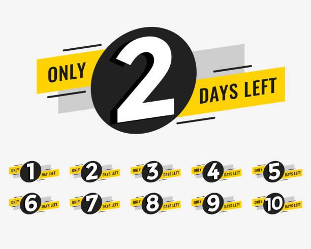promotional banner with number of days left sign vector art illustration