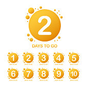 Promotional banner with number of days to go sign. Vector stock illustration.