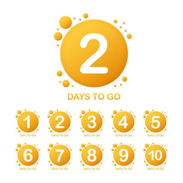 illustrazioni stock, clip art, cartoni animati e icone di tendenza di promotional banner with number of days to go sign. vector illustration. - mancino