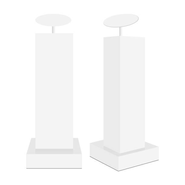 illustrazioni stock, clip art, cartoni animati e icone di tendenza di mockup dello stand del display promozionale isolato su sfondo bianco - totem fair