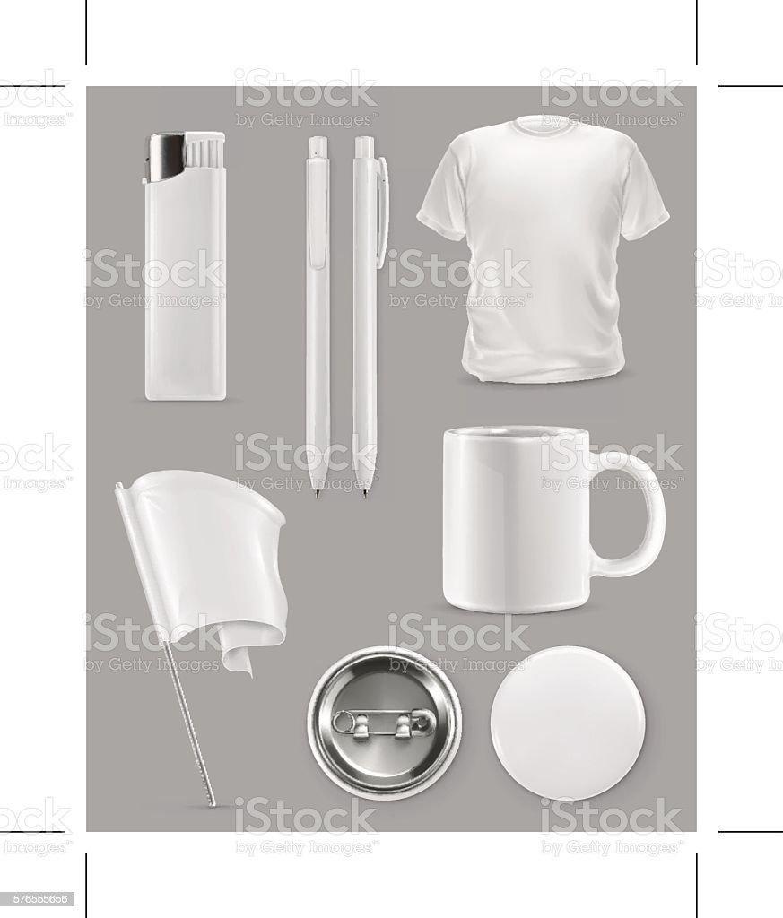 Promotional items, vector set mockup vector art illustration