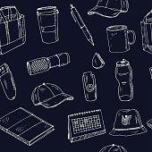 Promotional products thin line icons set: notebook, tote bag, sunglasses, t-shirt, water bottle, pen, backpack, cup, hat, travel mug, usb, lighter, calendar. Modern vector illustration.