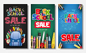 Promotional Vertical Poster and Banner Set with Creative Styles of Back to School Sale Text Titles in Different Colored Backgrounds for Marketing Purposes