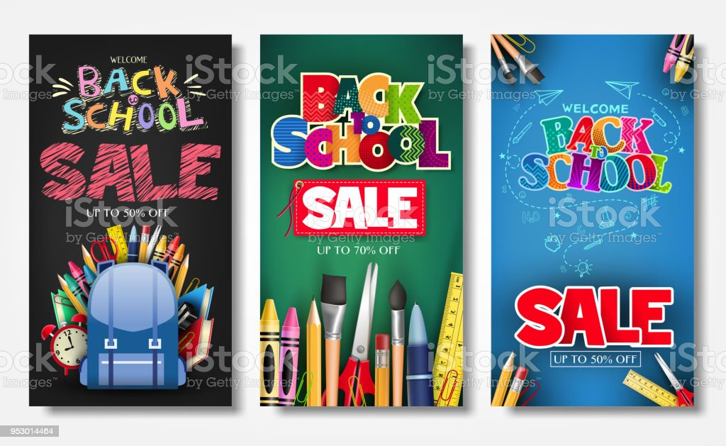 Promotional Vertical Poster and Banner Set with Creative Styles vector art illustration