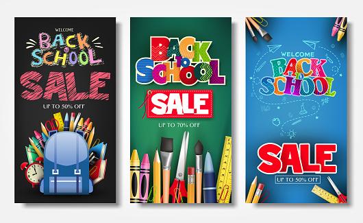 Affiche Promotionnelle De Verticale Et Bannière Sertie De Styles Créatifs Vecteurs libres de droits et plus d'images vectorielles de Affiche
