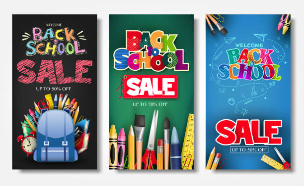 Promotional Vertical Poster and Banner Set with Creative Styles Promotional Vertical Poster and Banner Set with Creative Styles of Back to School Sale Text Titles in Different Colored Backgrounds for Marketing Purposes back to school stock illustrations