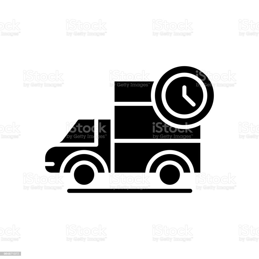 Prompt delivery black icon concept. Prompt delivery flat  vector symbol, sign, illustration. royalty-free prompt delivery black icon concept prompt delivery flat vector symbol sign illustration stock vector art & more images of accessibility