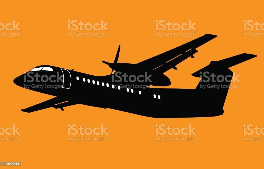 Prop Plane Sihlouette vector art illustration