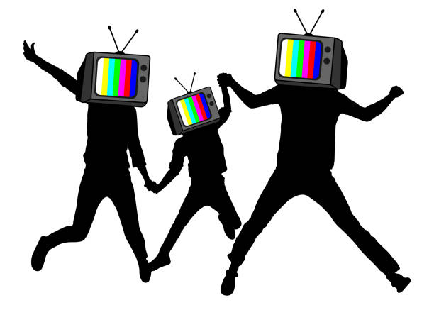 Propaganda, fake news. People instead of head TV, silhouette. Disconnected brains. Man of Zombies. Information war Propaganda, fake news. People instead of head TV, silhouette. Disconnected brains. Man of Zombies. Information war family watching tv stock illustrations