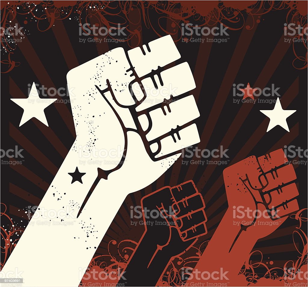 Propaganda Fists vector art illustration