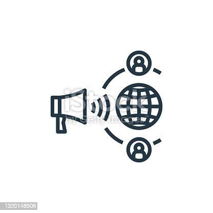 istock propaganda icon vector from detecting fake news concept. Thin line illustration of propaganda editable stroke. propaganda linear sign for use on web and mobile apps, logo, print media.. 1320148506
