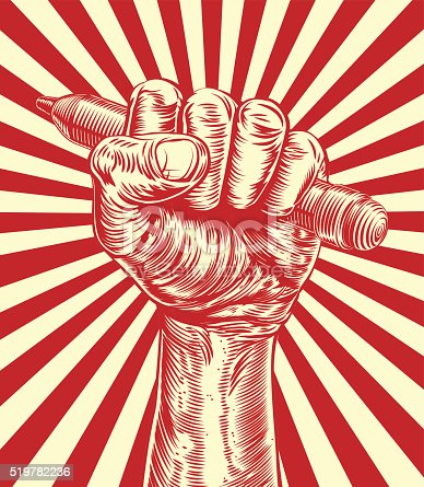 An original design of a fist holding a pencil in vintage propaganda poster wood cut style