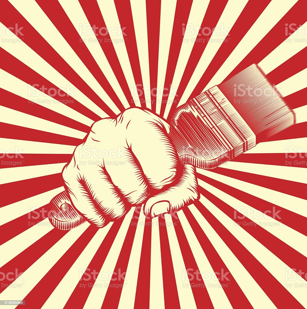 Propaganda Poster Paintbrush Woodcut Fist vector art illustration