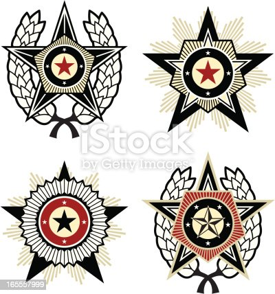 4 Propaganda style emblems with stars, pentagons and laurel wreaths.