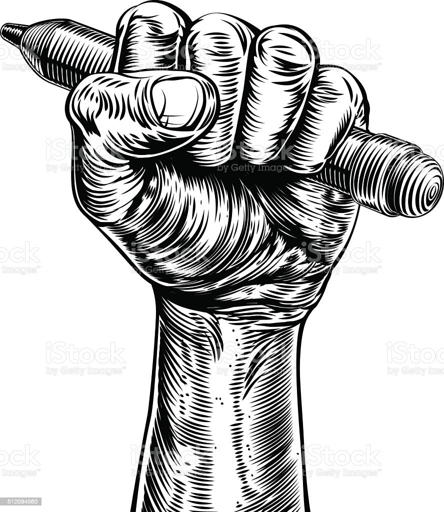 Propaganda Woodcut Fist Hand Holding Pencil vector art illustration