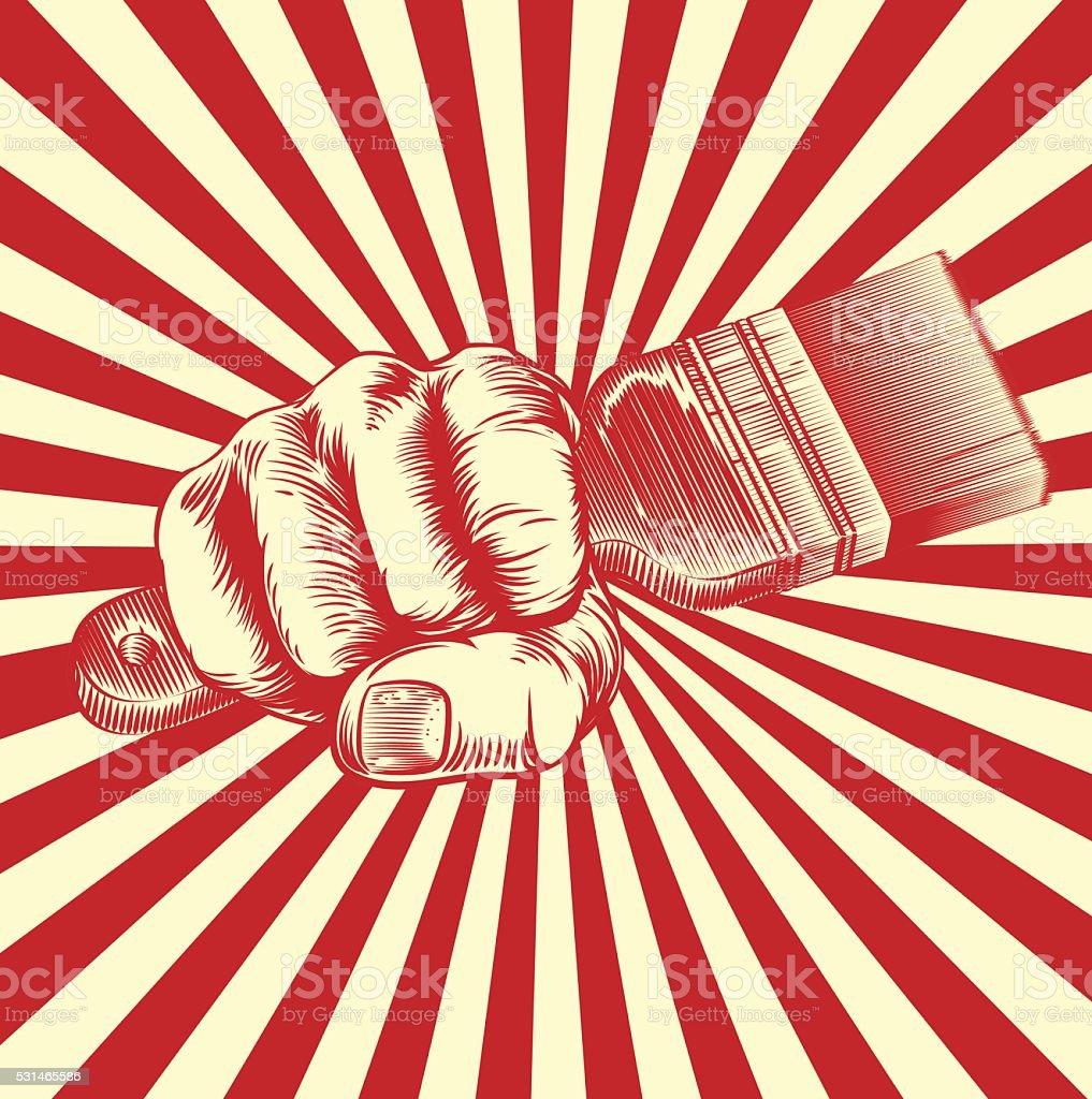 Pinceau main poing de propagande Gravure sur bois - Illustration vectorielle