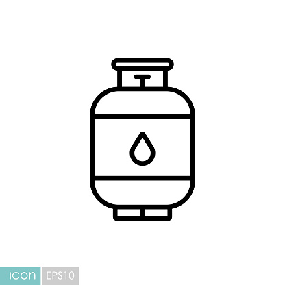 Propane gas cylinder vector icon. Barbecue and bbq grill sign. Graph symbol for cooking web site and apps design, logo, app, UI