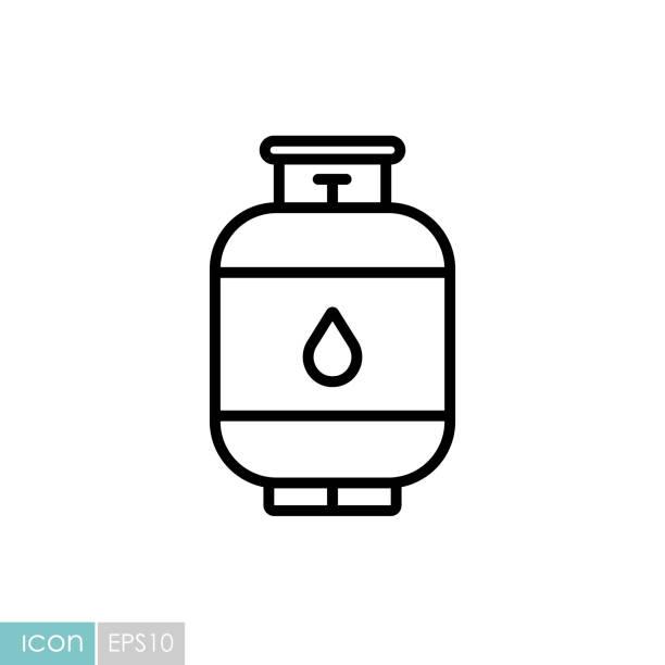 stockillustraties, clipart, cartoons en iconen met pictogram van de vectorvan de propaangascilinder - voorraadbus
