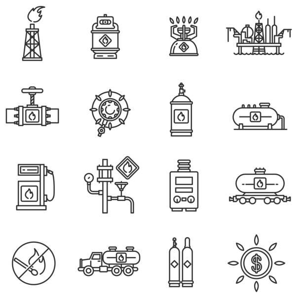 illustrazioni stock, clip art, cartoni animati e icone di tendenza di propane gas icons set. editable stroke - criobiologia