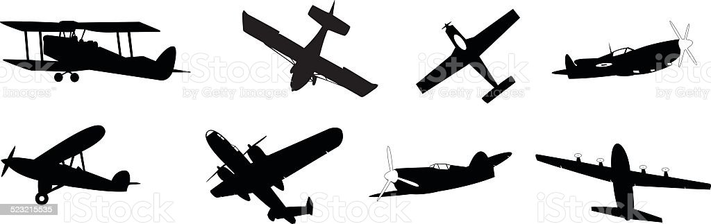 propeller aircraft vector art illustration