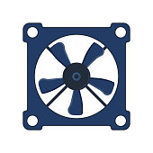 Propeller fan cooler computer vector wind ventilator equipment air blower technology power circle