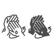 Proper hand washing instruction line and solid icon. Personal hygiene in covid-19 pandemic symbol, outline style pictogram on white background. Wash hands both sides with soap properly vector sign