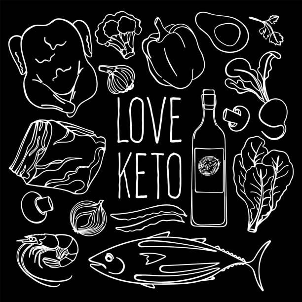 keto black proper nutrition diet vector illustration set - paleo diät stock-grafiken, -clipart, -cartoons und -symbole