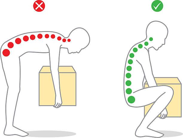 stockillustraties, clipart, cartoons en iconen met proper posture to lift a heavy object - oppakken