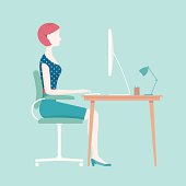 Proper posture for sitting at an office desk. Diagram shows a woman typing at her desk. This is an editable EPS 10 vector illustration. Download includes a high resolution JPEG.
