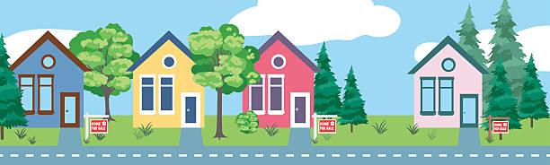 ilustraciones, imágenes clip art, dibujos animados e iconos de stock de properties for sale real horizontal banner - hipotecas y préstamos